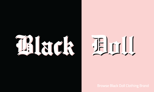 Black Doll logo is made up of a square box half pink and half black with the name Black Doll written across in white letters